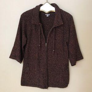 J. Jill marled zip front cardigan sweater size MP